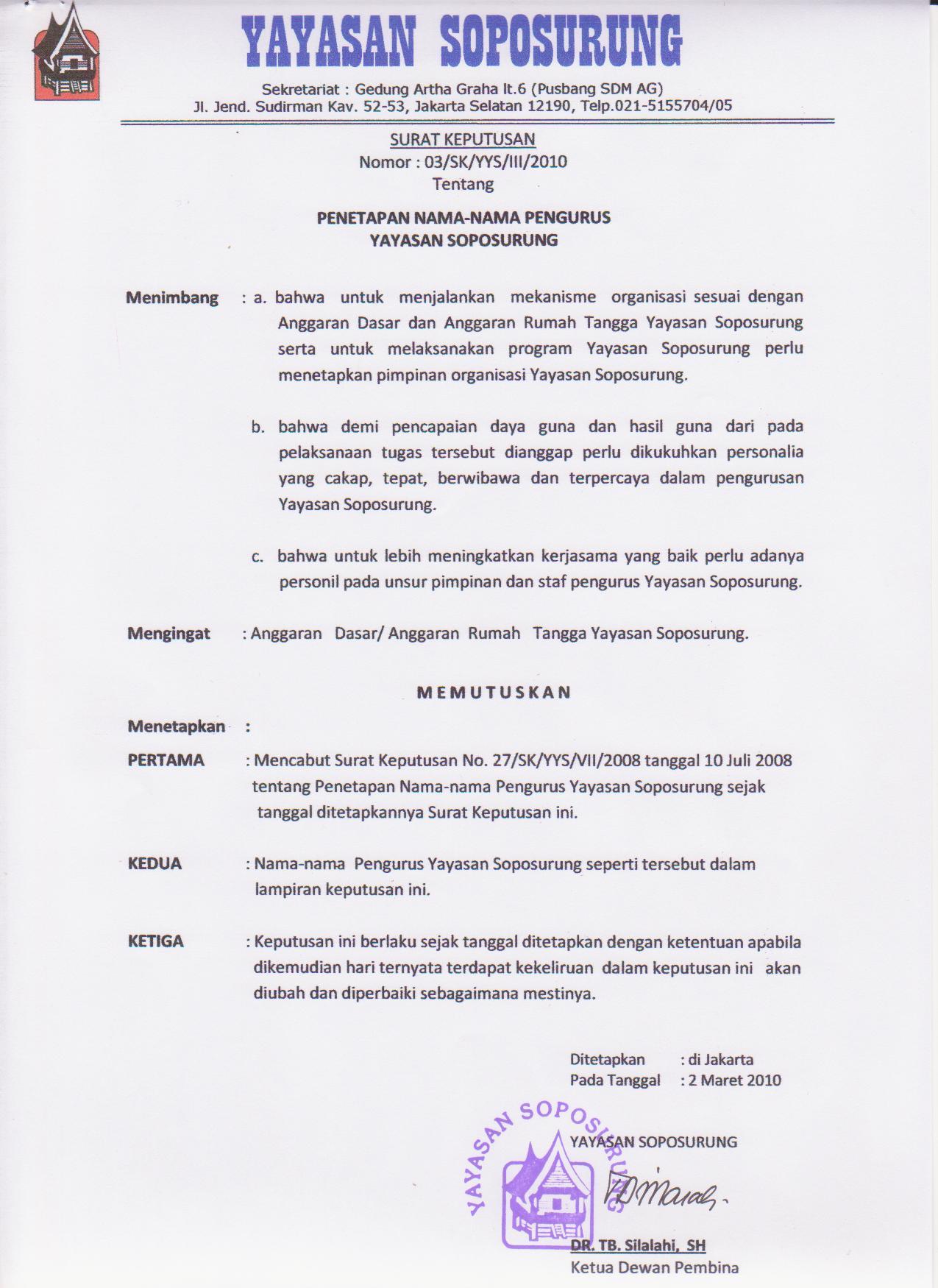 Pergantian Pengurus Yayasan Soposurung Sopo Ni Paryasop